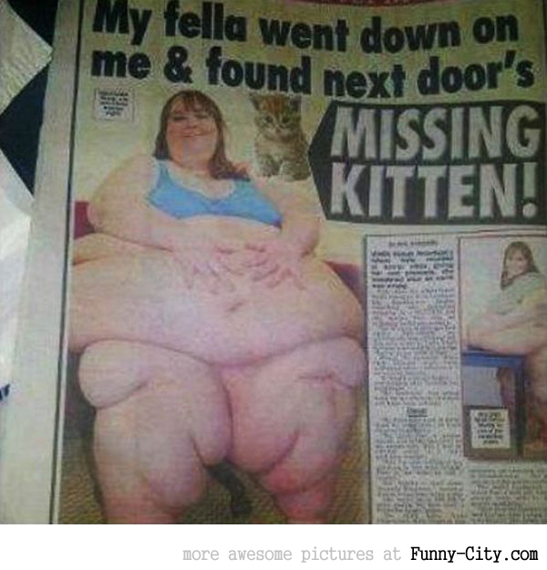 Missing kitten found in fat woman