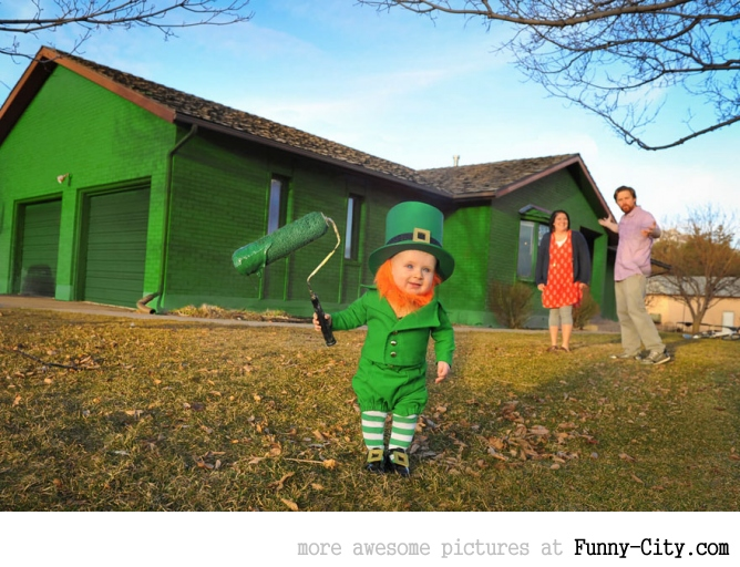Dad turns his 6-month-old baby into a naughty Leprechaun [7 photos] [11360]