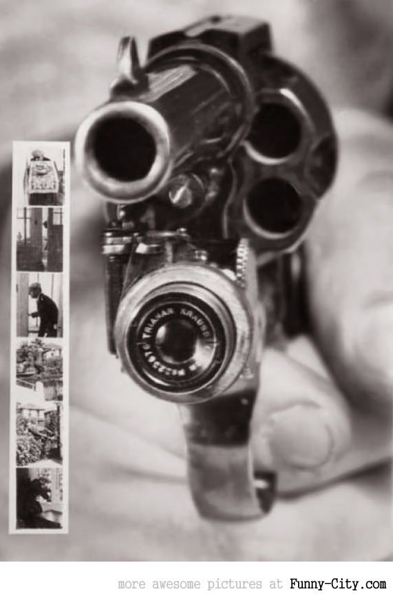 Pistol that takes a photo when the trigger is Pulled (1938)