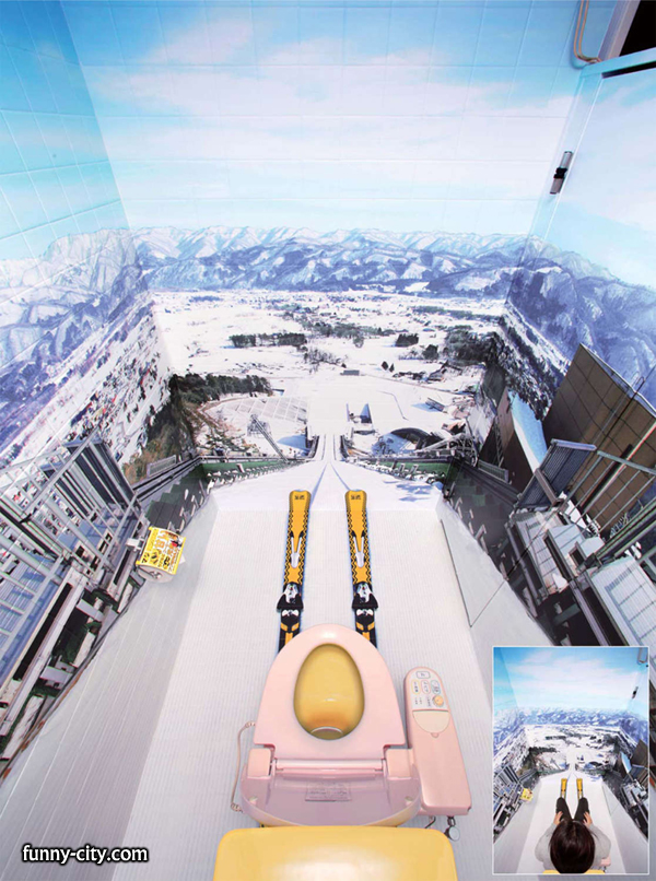 <p>A Japanese coffee company, Goeorgia Max Coffee, modified the bathrooms of ski areas around Japan to promote their coffee energy drinks. This is probably the most exciting bathroom I've ever seen!</p>